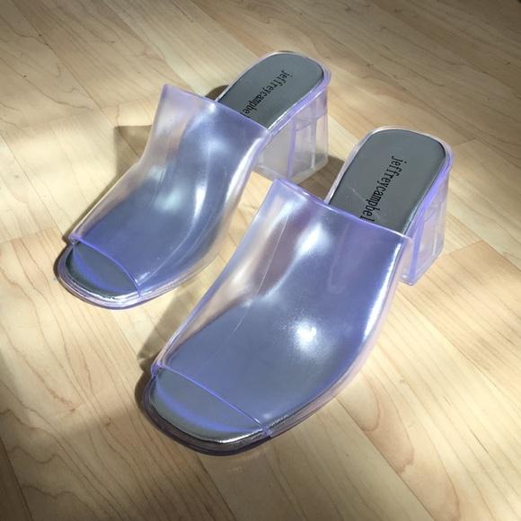 5fb1e43d76d0 Jeffrey Campbell Petra jelly block heel mule